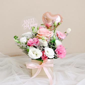 Fabulous Bash (Pink Ecuadorian Rose w/ Balloon)