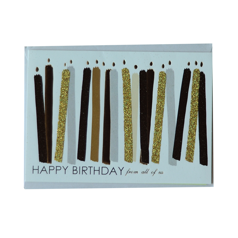 Happy Birthday with Gold and Black Stripes