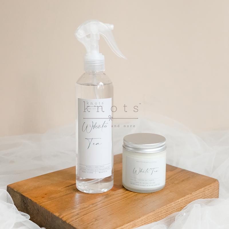 White Tea 100gms Soy Candle & 250ml Linen Spray (1)