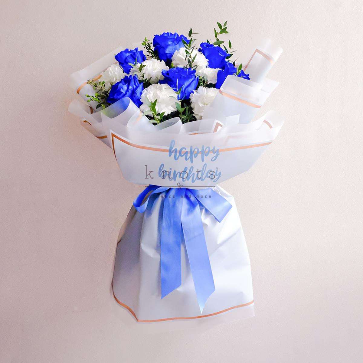 Enlivening Surprise (Blue Ecuadorian Roses Bouquet)
