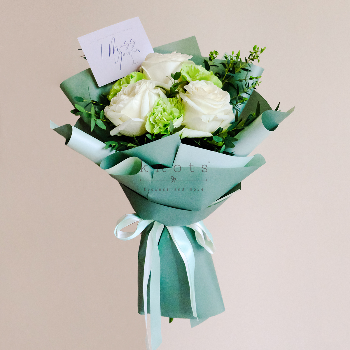 I'm With You (White Ecuadorian Roses And Green Carnation Bouquet)