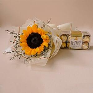 Summery Bonbon (Sunflower Bouquet with Ferrero Rocher Chocolate)