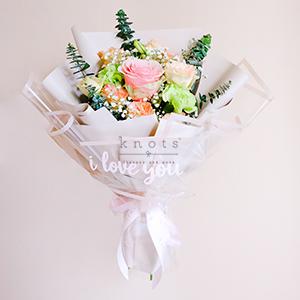 Savannah With I Love You Decal (Pink Ecuadorian Rose Bouquet)