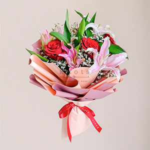 Jubilant Affection (Pink Lilies And Roses Bouquet)