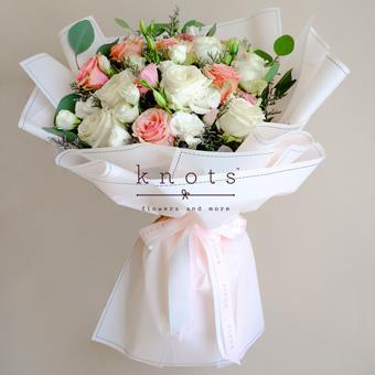 Lavish Beauty (Pink And White Ecuadorian Roses Bouquet)