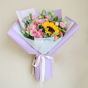 Lovable Lady (Sunflower And Roses Bouquet)