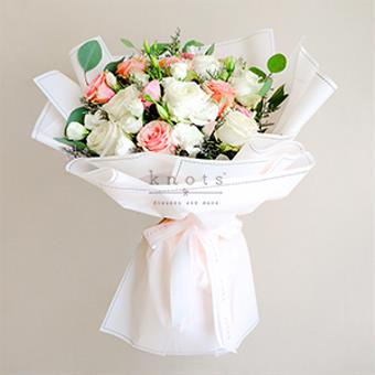Lavish Beauty (Pink And White Ecuadorian Roses Bouquet)
