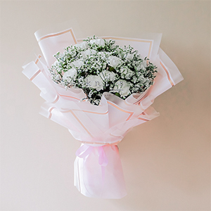 Purity of Everlasting (White Carnation Bouquet)