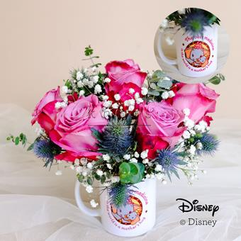Hugging Mom (6 Purple Roses With Disney Cup)