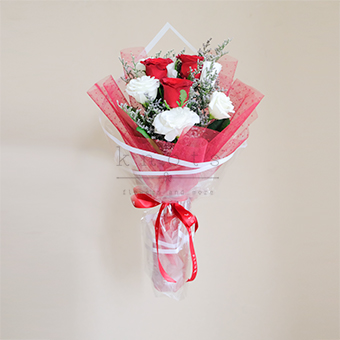 Thoughts of You (Red China Roses Bouquet)
