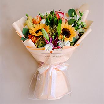 Alba (Sunflower and Lilies Bouquet)