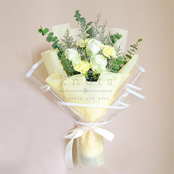 Brighten Comfort (White China Roses Bouquet)