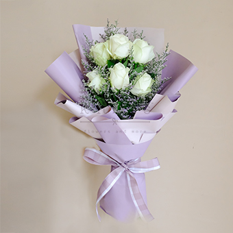 Vivacious Tender (White China Roses Bouquet)