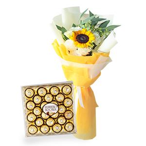 Sweet Victory (Sunflower and 24 Ferrero Rocher Chocolate)