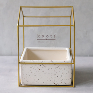 White Ceramic Container with Gold Rack