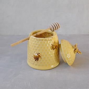Stoneware Bee Skep Design Honey Jar w/ Wood Honey Dipper