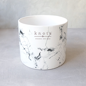 Marble Round Vase with Black Design