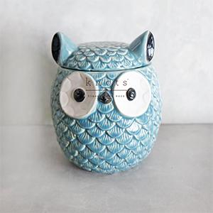 Stoneware Owl Ginger Jar