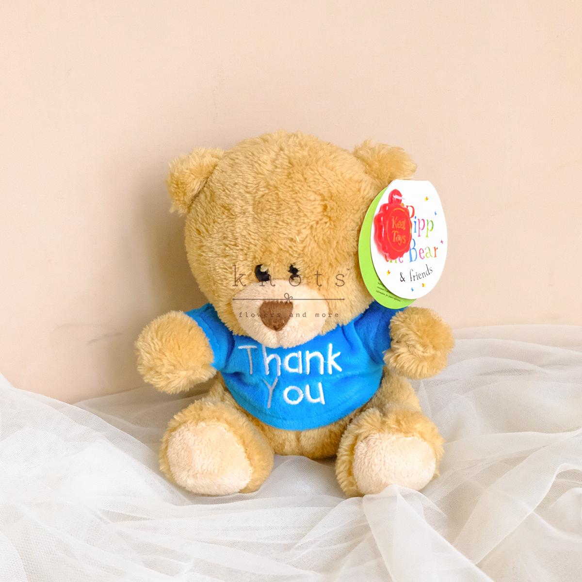 4cm Pippins Bear Thank You Blue