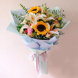 Sugar Warmth (Pink Lilies And Sunflowers Bouquet)