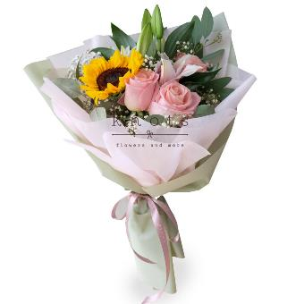 Jubilant Hearts (Sunflower, Lily And Roses Bouquet)