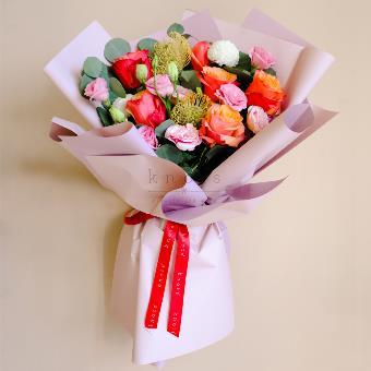 Summer Blush (Red-Orange Ecuadorian Roses Bouquet)