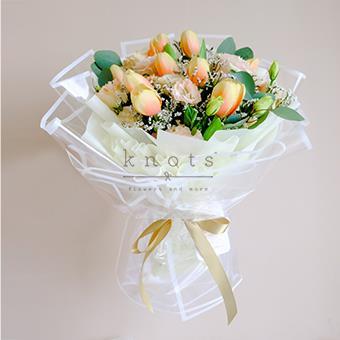 Cheerful Girl (Yellow Orange Tulips Bouquet)