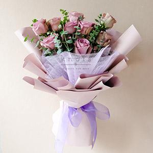 Treasured Romance (Purple Ecuadorian Roses Bouquet)