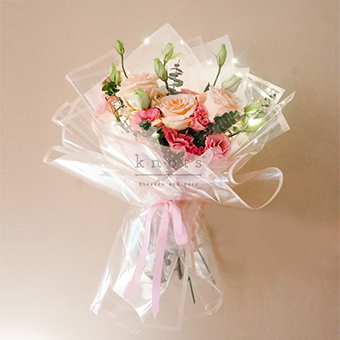Shines from Within (Pink- Peach Roses Bouquet)