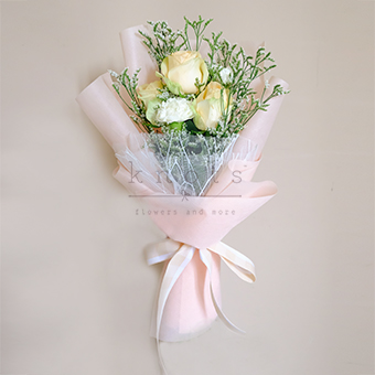 Sunny Daydream (Peach China Roses Bouquet)