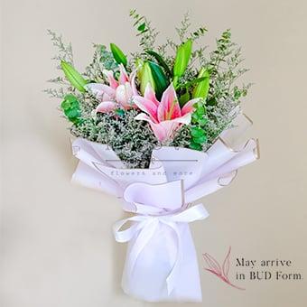 Prismatic Glimmer (Pink Lilies Bouquet)