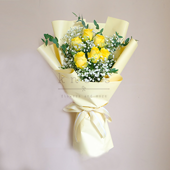 Happy As Can Be (Yellow China Rose Bouquet)