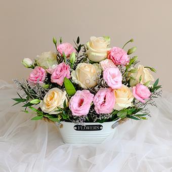 Pastel Petals (Peach Roses Arrangement)