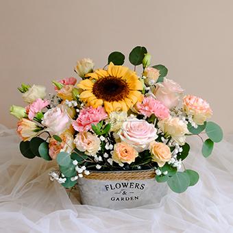 Pure Happiness (Sunflower Roses Arrangement)