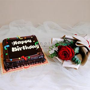 Birthday Surprises (Single Stem Rose Bouquet with Birthday Cake)