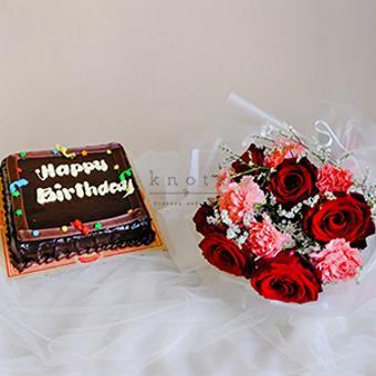 Beautiful Birthday (Red Ecuadorian Roses Bouquet with Birthday Cake)