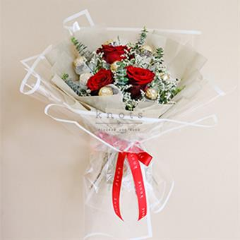 Timeless Beauty (Red Roses with Ferrero Chocolates)