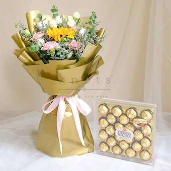 For You, with Love (Sunflower Bouquet w/ Ferrero Chocolates)